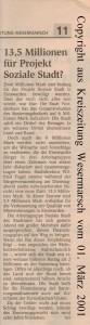 13,5 Millionen für Projekt Soziale Stadt - Kreiszeitung Wesermarsch vom 01. März 2001 - Seite 2 von 2 Seiten