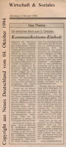 3. Oktober - Kommunikationseinheit - Neues Deutschland vom 04. Oktober 1994