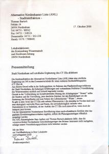 ANL-Stadtratsfraktion - Stadt Nordenham soll nördliche Ergänzung des CT IIIa ablehnen - Pressemitteilung vom 17. Oktober 2000