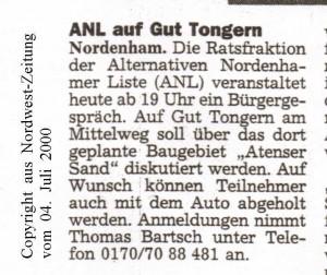 ANL auf Gut Tongern - Nordwest-Zeitung vom 04. Juli 2000