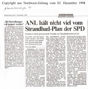 ANL hält nicht viel vom Strandbad-Plan der SPD - Nordwest-Zeitung vom 03. Dezember 1998