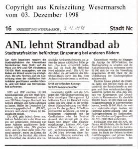 ANL lehnt Strandbad ab - Kreiszeitung Wesermarsch vom 03. Dezember 1998