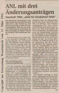 ANL mit drei Änderungsanträgen - Kreiszeitung Wesermarsch vom 13. März 1992