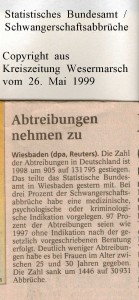 Abtreibungen nehmen zu - Kreiszeitung Wesermarsch vom 26. Mai 1999