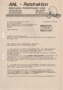 Anfragen der  ANL - Ratsfraktion vom 28. September 1992 - Seite 1 von 2 Seiten