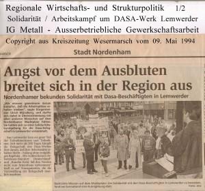 Angst vor dem Ausbluten breitet sich in der Region aus - Kreiszeitung Wesermarsch vom 09. Mai 1994 - Seite 1 von 2 Seiten