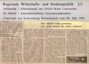 Angst vor dem  Ausbluten breitet sich in der Region aus - Kreiszeitung Wesermarsch vom 09. Mai 1994 - Seite 2  von 2 Seiten