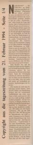 Aus Zukunftsangst auf Nummer Sicher - die tageszeitung vom 21. Februar 1994 - Seite 1 von 4 Seiten