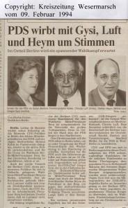 BW 1994 - PDS wirbt mit Gysi, Luft und Heym um Stimmen - Kreiszeitung Wesermarsch vom 09. Februar 1994