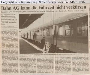 Bahn AG kann die Fahrzeit nicht verkürzen - Kreiszeitung Wesermarsch vom 06. März 1996