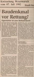Baudenkmal vor Rettung - Kreiszeitung Wesermarsch vom 07. Juli 1992 - Seite 1 von 2 Seiten