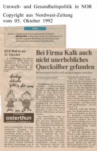 Bei Firma Kalk auch nicht unerhebliches Quecksilber gefunden - Nordwest-Zeitung vom 05. Oktober 1992