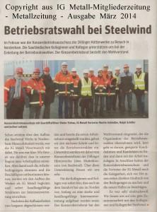 Betriebsratswahl bei Steelwind - IG Metall-Mitgliederzeitung - Metallzeitung - Ausgabe März 2014