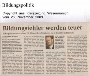 Bildungsfehler werden teuer - Kreiszeitung Wesermarsch vom 26. November 2009