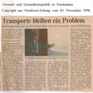 Blei-Niederschlag - Transporte bleiben ein Problem - Nordwest-Zeitung vom 05. November 1998