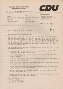 CDU-Anfragen - Reithfelderstraße - Wohnungen auch für den normalen Facharbeiter - Kreiszeitung Wesermarsch vom 26. September 1992