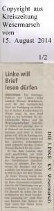 DIE LINKE. will Brief lesen dürfen  -  Kreiszeitung Wesermarsch vom  15.  August  2014  -  Seite 1  von  2  Seiten2