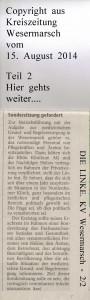 DIE LINKE. will Brief lesen dürfen  -  Kreiszeitung Wesermarsch vom  15.  August  2014  -  Seite 2  von  2  Seiten