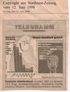 Dauer der Arbeitsunfähigkeit  von Beschäftigten im Jahr 1997 - Nordwest-Zeitung vom 12. Juni 1998