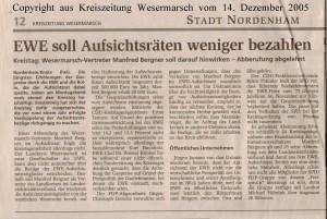 EWE soll Aufsichtsräten weniger zahlen - Kreiszeitung Wesermarsch vom 14. Dezember 2005