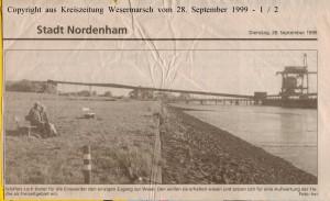 Einswarder wünschen sich Schäfers Loch als Freizeitareal - Kreiszeitung Wesermarsch vom 28. September 1999  - Seite 1 von 2 Seiten
