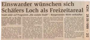 Einswarder wünschen sich Schäfers Loch als Freizeitareal - Kreiszeitung Wesermarsch vom 28. September 1999  - Seite 2 von 2 Seiten