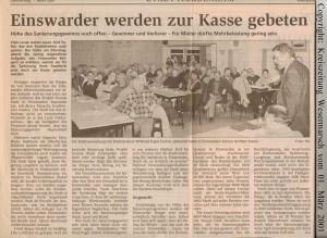 Einswarder werden zur Kasse gebeten - Kreiszeitung Wesermarsch vom 01. März 2001 - Seite 1 von 2 Seiten