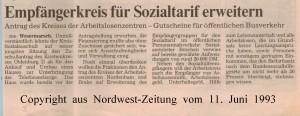 Empfängerkreis für Sozialtarif erweitern - Nordwest-Zeitung vom 11. Juni 1993