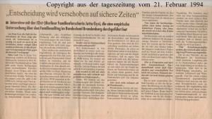 Entscheidung wird verschoben auf sichere Zeiten - Aus Zukunftsangst auf Nummer Sicher - die tageszeitung vom 21. Februar 1994 - Seite 4 von 4 Seiten