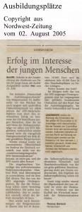 Erfolg im Interesse der jungen Menschen - Leserbrief - Nordwest-Zeitung vom 02. August 2005