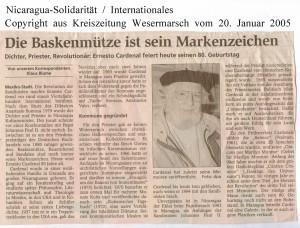 Ernesto Cardenal - Die Baskenmütze ist sein Markenzeichen - Kreiszeitung Wesermarsch vom 20. Januar 2005