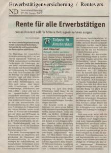 Erwerbstätigenversicherung - Neues Deutschland vom 27.-28. Januar 2007