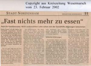 Fast nichts mehr zu essen - Kreiszeitung Wesermarsch vom 23. Februar 2002