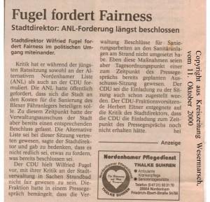 Fugel fordert Fairness - Kreiszeitung Wesermarsch den 11. Oktober 2000