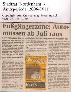 Fussgängerzone - Autos müssen ab Juli raus - Kreiszeitung Wesermarsch vom 07. Juni 2008