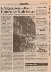 GNSG-Anteile sollen in Händen der Stadt bleiben - Nordwest-Zeitung vom 29. Oktober 1997