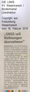 GNSG sol Wohnungen übernehmen - Kreiszeitung Wesermarsch vom 18. Februar 2016 -