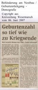 Geburtenzahl so tief wie zu Kriegsende - Kreiszeitung Wesermarsch vom 06. Juni 2007