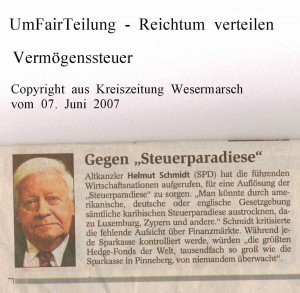 Gegen Steuerparadies - Kreiszeitung Wesermarsch vom 07. Juni 2007