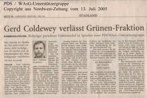 Gerd Coldewey verlässt Grünen-Fraktion - Nordwest-Zeitung vom 13. Juli 2005