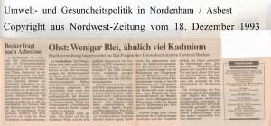 Gertrud Becker - Obstuntersuchungen - Weniger Blei, ähnlich viel Kadmium - Nordwest-Zeitung vom 18. Dezember 1993