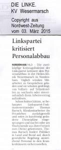 HELIOS - Linkspartei kritisiert Personalabbau - Nordwest-Zeitung vom 03. März 2015