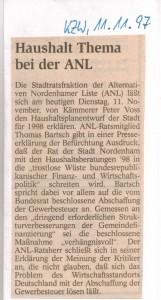 Haushalt thema bei der ANL - Alternative Nordenhamer Liste - Kreiszeitung Wesermarsch den 11.11.1997