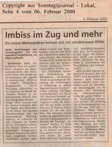 Imbiss im Zug und mehr - Sonntagsjournal vom 06. Februar 2000
