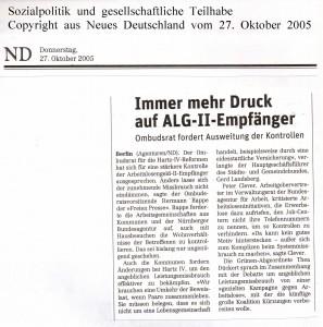 Immer mehr Druck auf ALG-II-Empfänger - Neues Deutschland vom 27. Oktober 2005