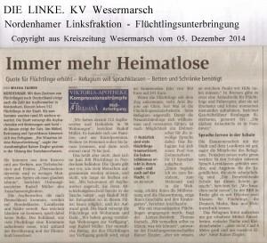 Immer mehr Heimatlose - Kreiszeitung Wesermarsch vom 05. Dezember 20141