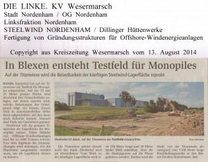 In Blexen ensteht Testfeld für Monopiles  -  Kreiszeitung Wesermarsch vom  13.  August  2014