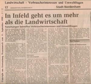 In Infeld geht es um  mehr als die Landwirtschaft - Kreiszeitung Wesermarsch vom  11. September 1999 - Seite 1 von 2 Seiten