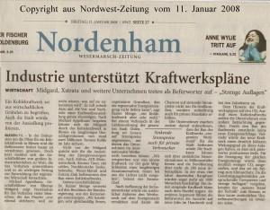 Industrie unterstützt Kraftwerkspläne - Nordwest-Zeitung vom 11. Januar 2008