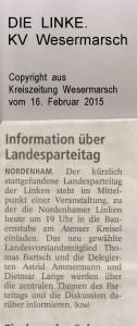 Information über Landesparteitag - Kreiszeitung Wesermarsch vom 16. Februar 2015